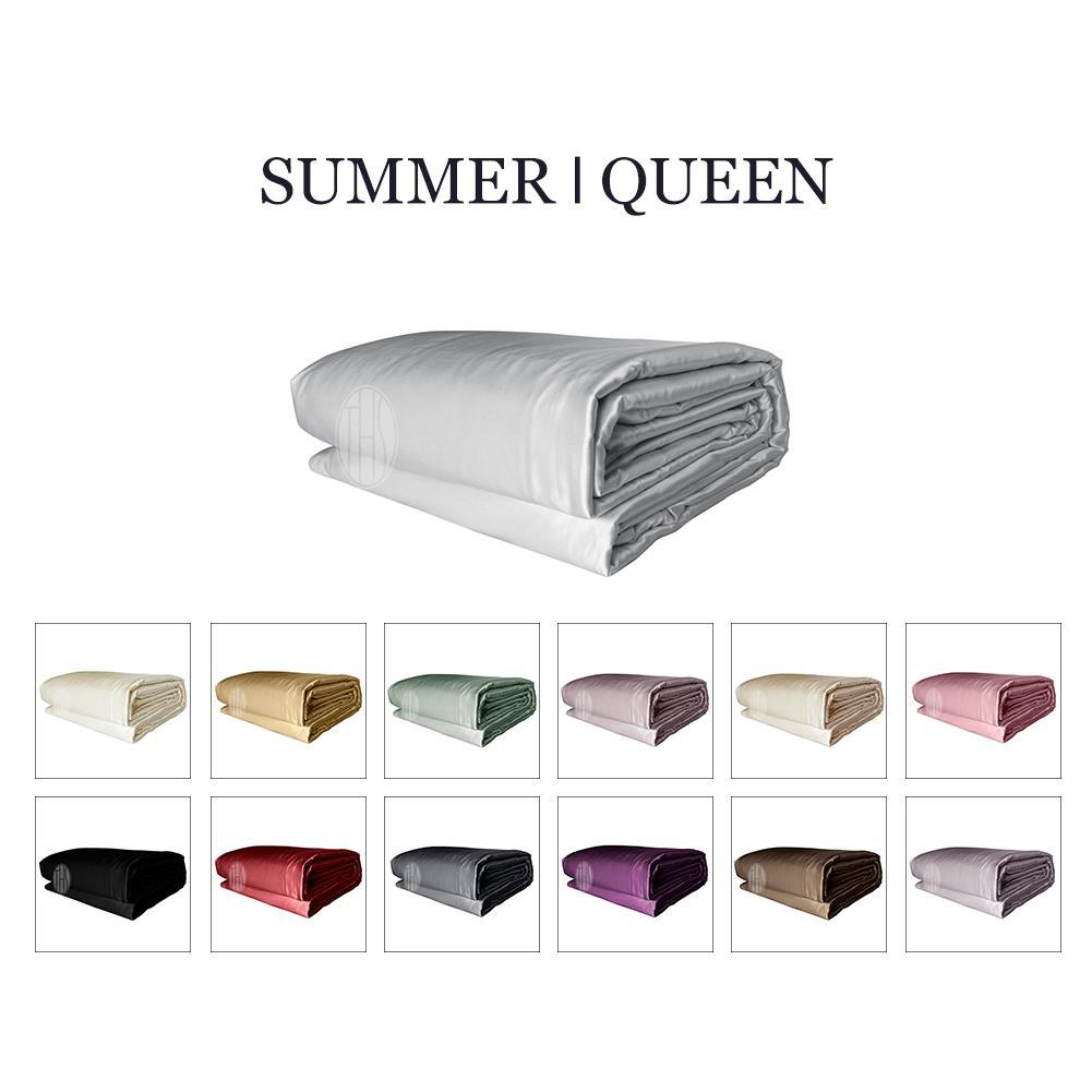 Luxury 2in1 Silk Cooling Comforter Set with Removable Silk Duvet Cover | Summer | Queen