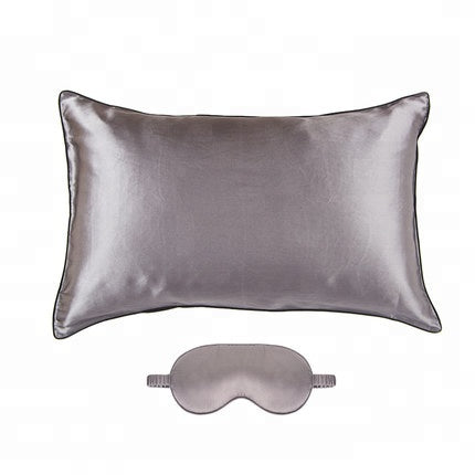 Travel Set Luxury 22 MM 100% Mulberry Silk Pillowcase and silk eye mask set/ TAIHU SNOW