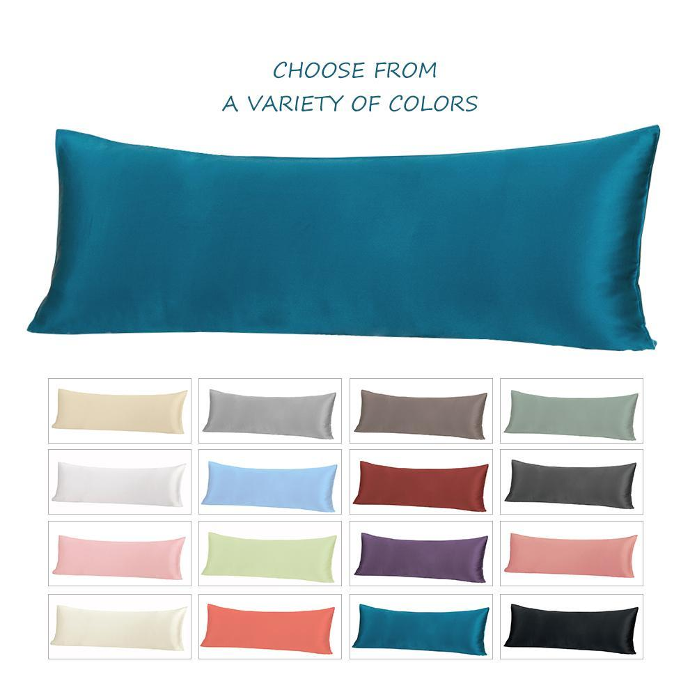 High end 19 Momme Mulberry Silk Body Pillowcase | Zipper Closure | 20 x 54 | 12 Colors| TAIHU SNOW