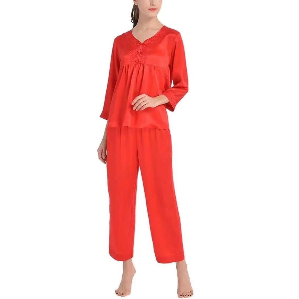 High end 19 Momme V Neck with Embroidery Silk Pajamas Set| TAIHU SNOW