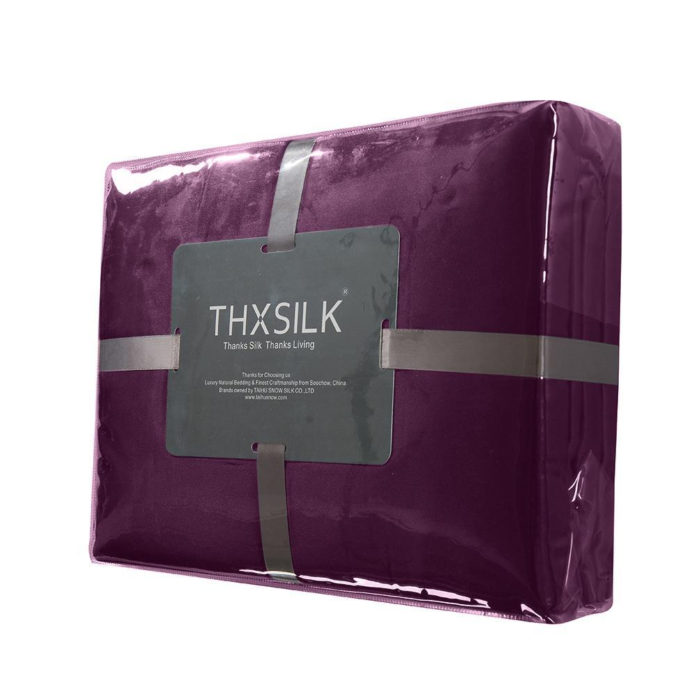 High end 19 Momme Mulberry Silk Sheets Bedding Sets Duvet Cover Set (4 Piece) | Dark Magenta