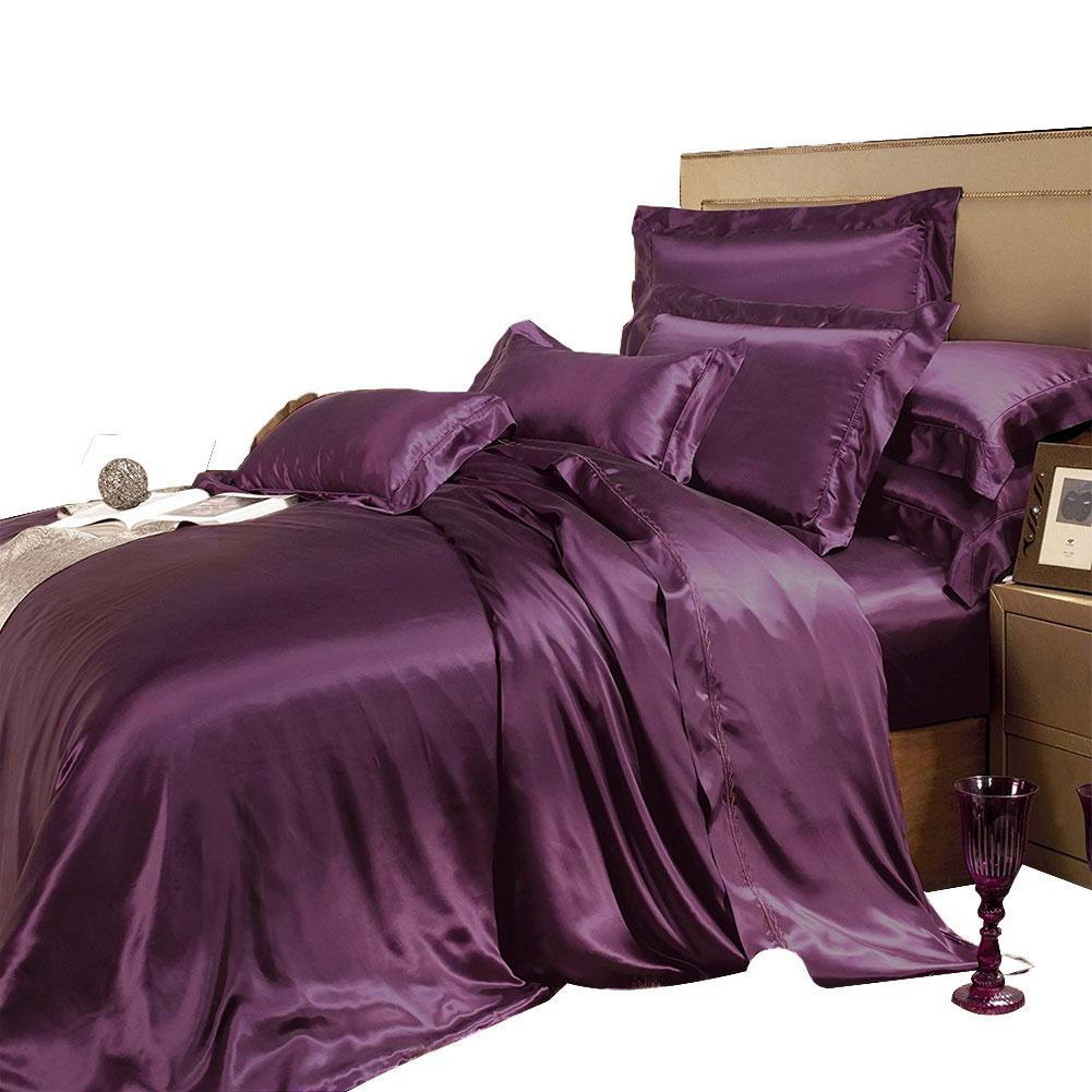 High end 19 Momme Mulberry Silk Bedding Sets Silk Duvet Cover Set  | 13 Colors|TAIHU SNOW