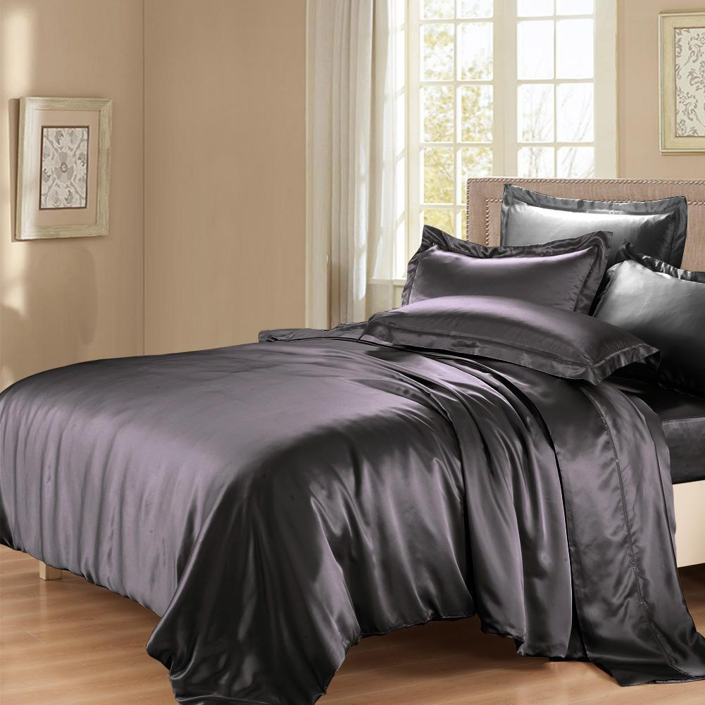 Luxury 22 Momme Mulberry Silk Sheets Bedding Sets Duvet Cover Set (4 Piece) | 5 Colors|  | TAIHU SNOW