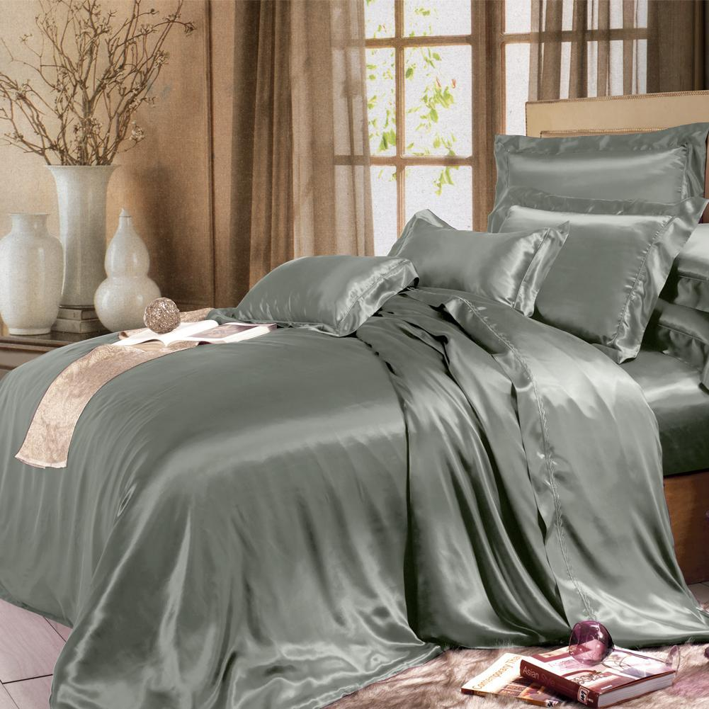 High end 19 Momme Mulberry Silk Sheets Bedding Sets Duvet Cover Set (4 Piece) | Grey
