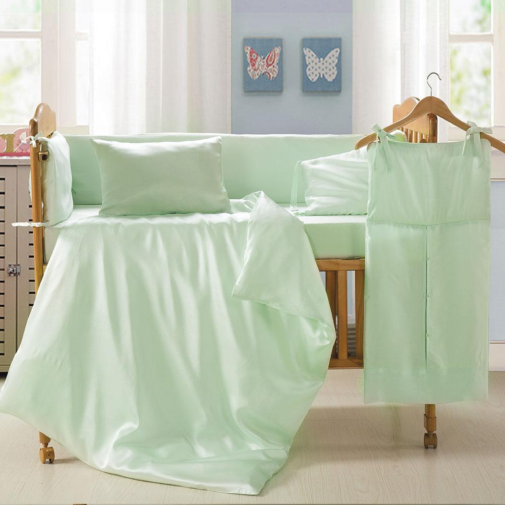 Luxury 100% Mulberry Silk Bed Sheets for Baby | Green | Crib Fitted Sheet|TAIHU SNOW