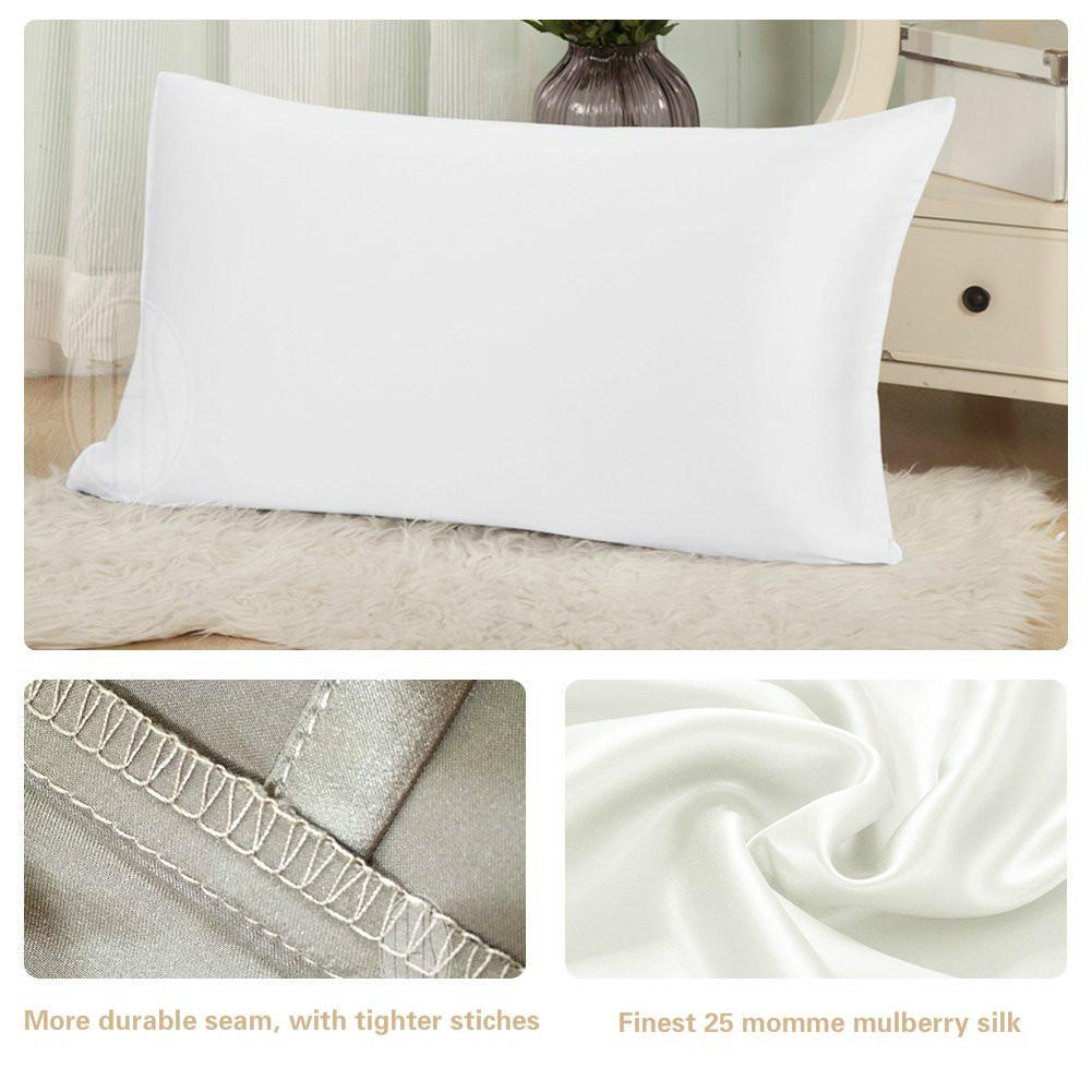 Extreme 25 Momme Mulberry Silk Pillowcase | Hidden Zipper Closure | 7 Colors | TAIHU SNOW