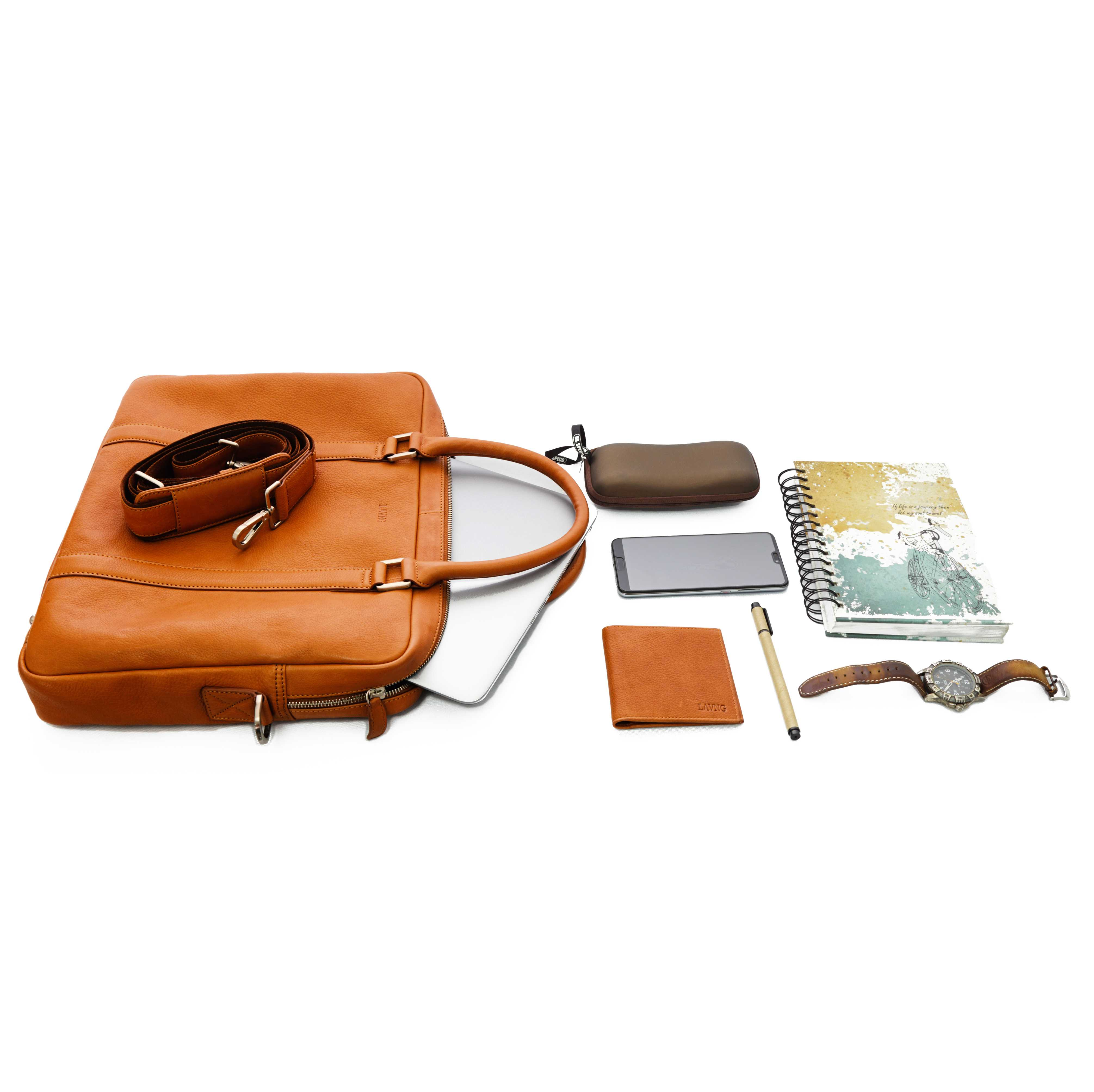 Soft Leather Briefcase - Tan