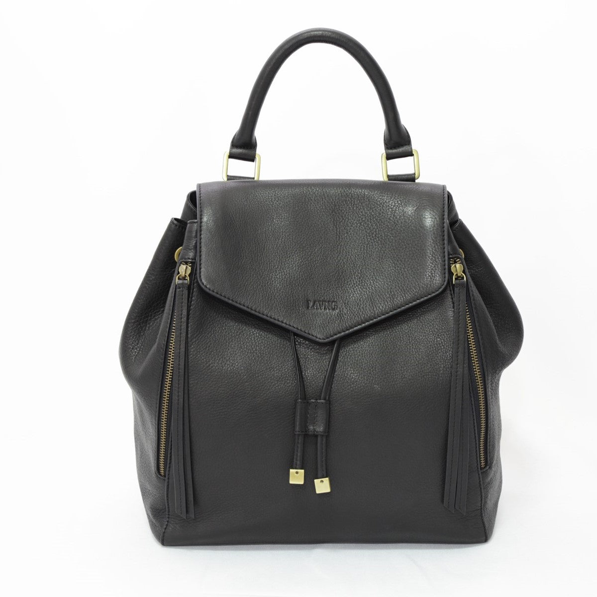 Soft Leather Backpack - Black