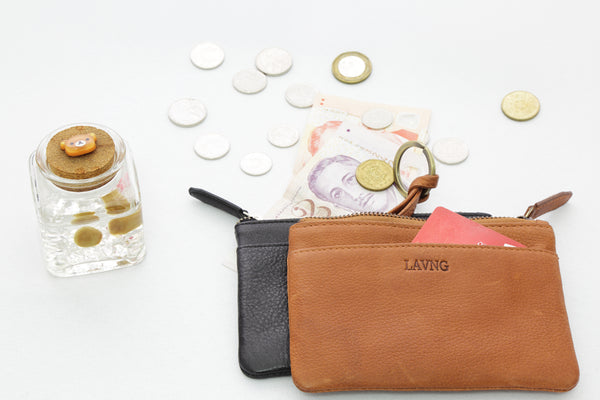 leather key and coin purse