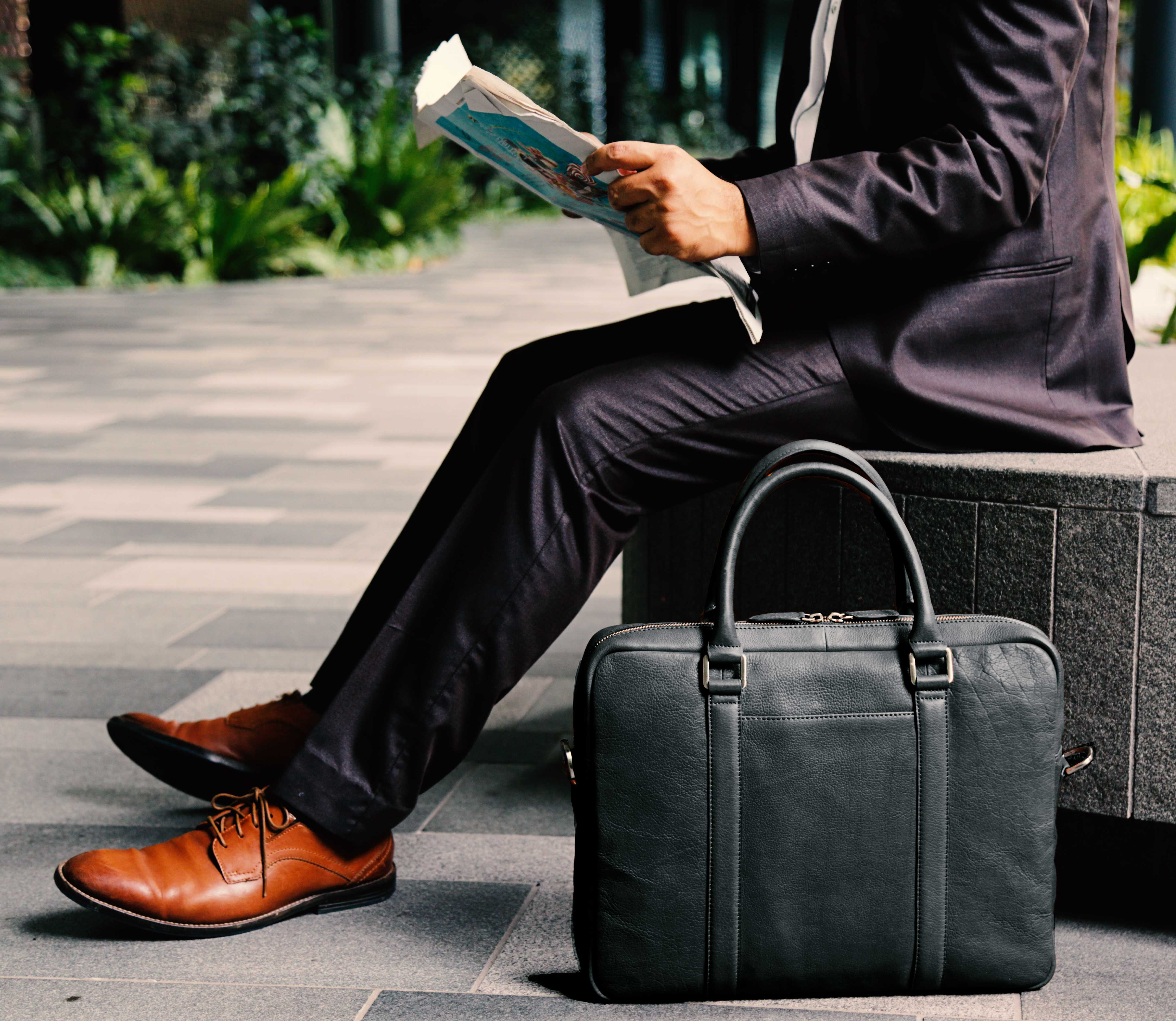 Soft Leather Briefcase - Black