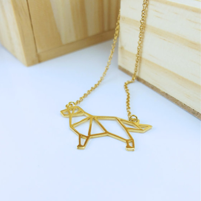 Golden Retriever Origami Necklace
