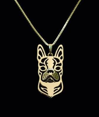 Boston Terrier Carved Necklace
