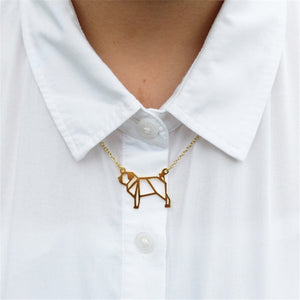 Pug Origami Necklace