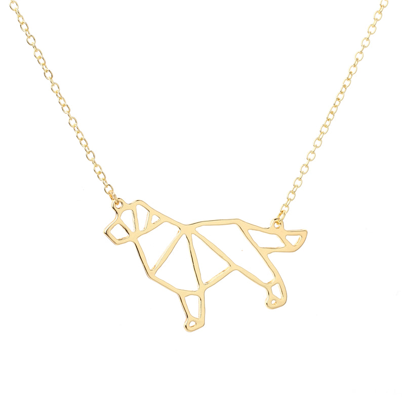 Origami Golden Retriever Necklace
