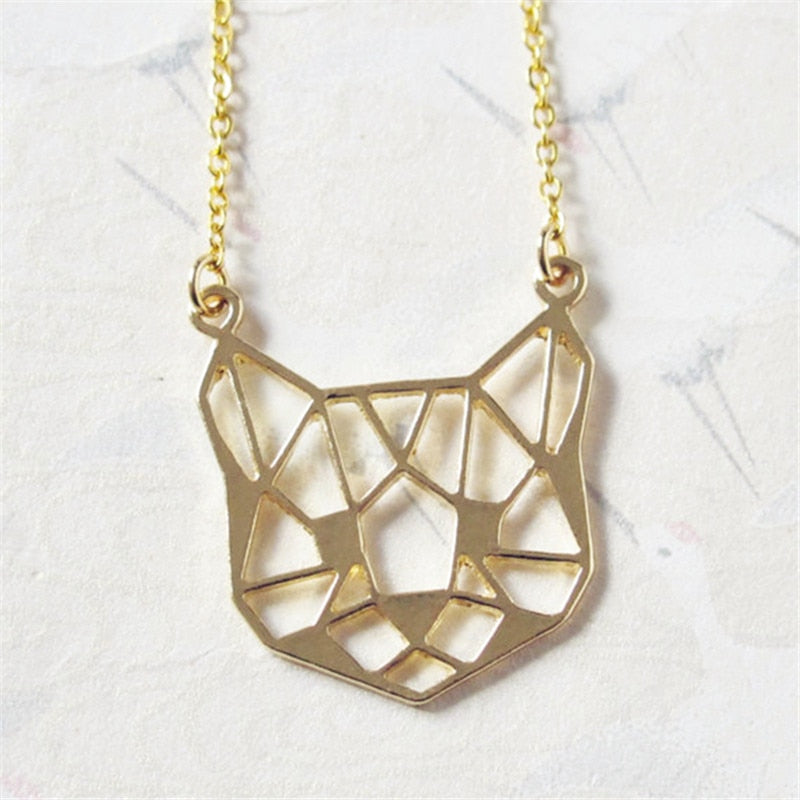 Origami Cat Face Necklace