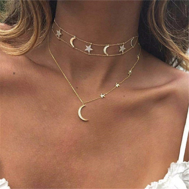 Moon & Star Multi-layer Necklace