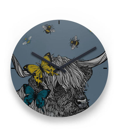 "Highland Cow 01 - 11"" Round Wall Clock 