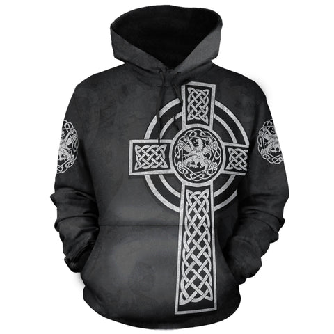 Celtic Cross Lion - Black Pullover Hoodie | Love Scotland