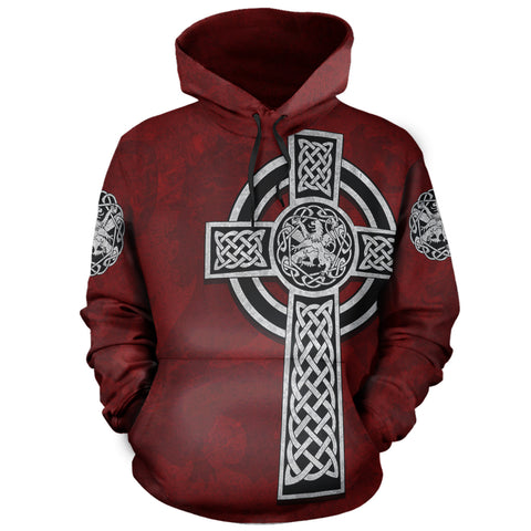 Celtic Cross Lion - Red Pullover Hoodie | Love Scotland
