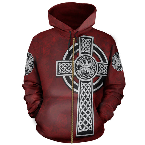 Celtic Cross Lion - Red Zip Hoodie | Love Scotland