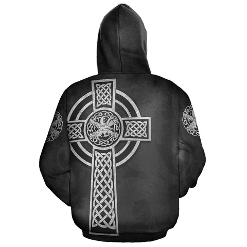 Celtic Cross Lion - Black Zip Hoodie | Love Scotland
