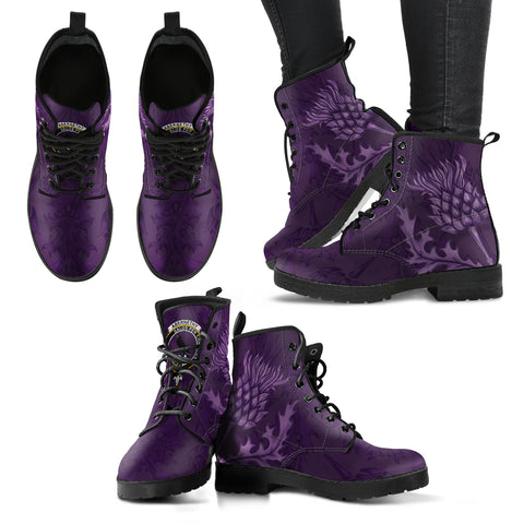 Image of Abernethy Crest Scottish Thistle Scotland Leather Boots Purple | Over 300 Clans