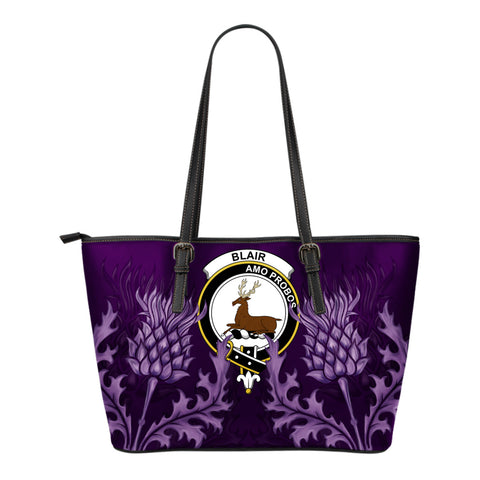 Blair Leather Tote Bag - Scottish Thistle (Small Size) | Over 300 Clans