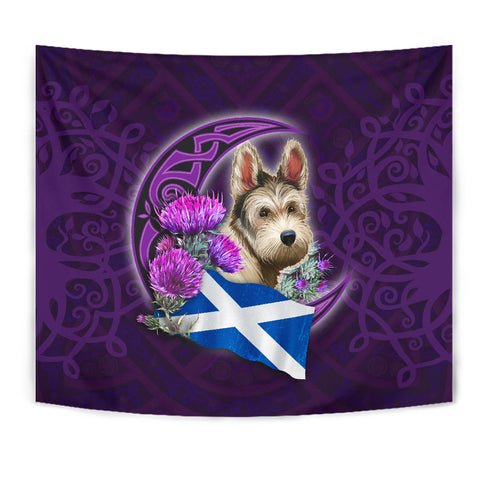 Scotland Tapestry Celtic Tree Of Life - Scottish Terrier And Thistle Moon Celtic