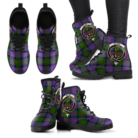Blair Modern Tartan Clan Badge Leather Boots A9