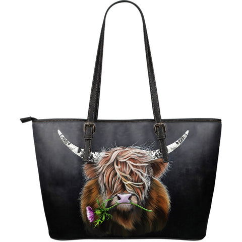 Scotland Large Leather Tote - Thistle Highland Cow | Love Scotland