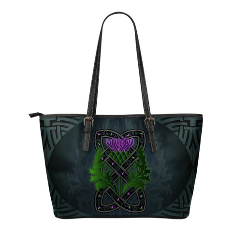 Celtic Myth Thistle Leather Tote Bag | Special Custom Design