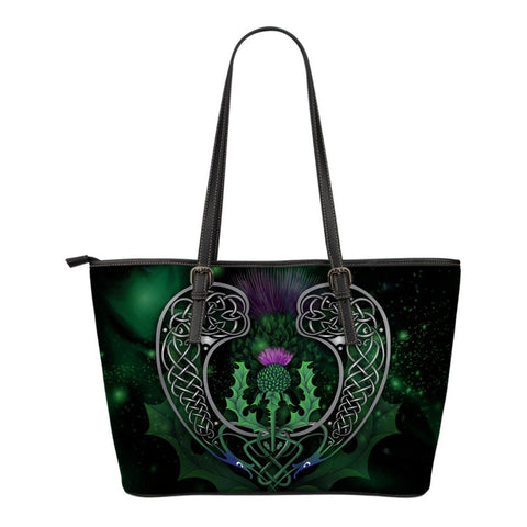 Image of Scotland Leather Tote Bag - Celtic Thistle Green | Love Scotland