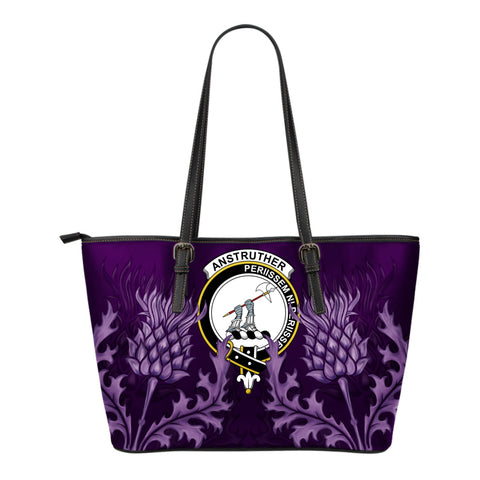 Anstruther Leather Tote Bag - Scottish Thistle (Small Size) | Over 300 Clans