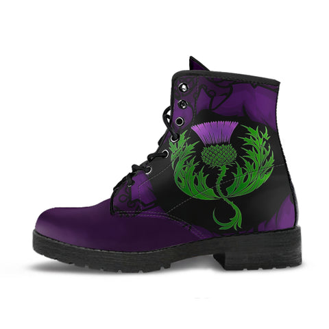Scotland Leather Boots - Celtic Thistle Purple A24