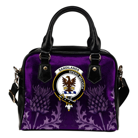 Sandilands Crest Shoulder Handbag - Scottish Thistle Purple