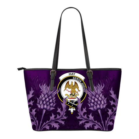 Hay Leather Tote Bag - Scottish Thistle (Small Size) | Over 300 Clans