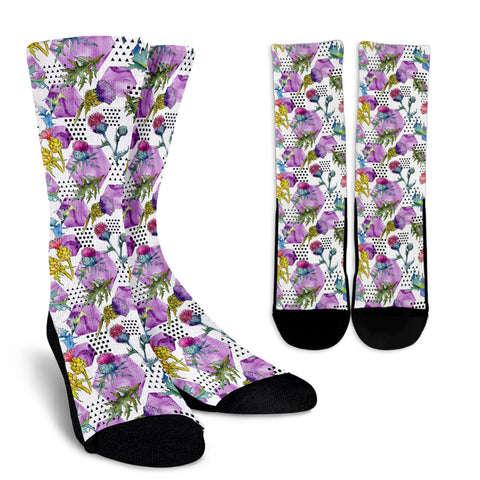 Scottish Thistle Pattern 07 Crew Socks | HOT Sale