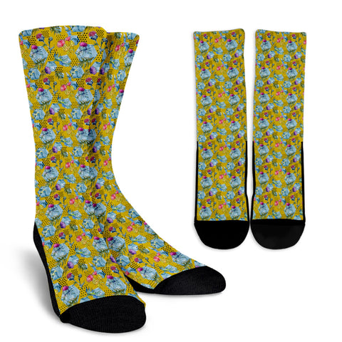 Scottish Thistle Pattern 06 Crew Socks | HOT Sale