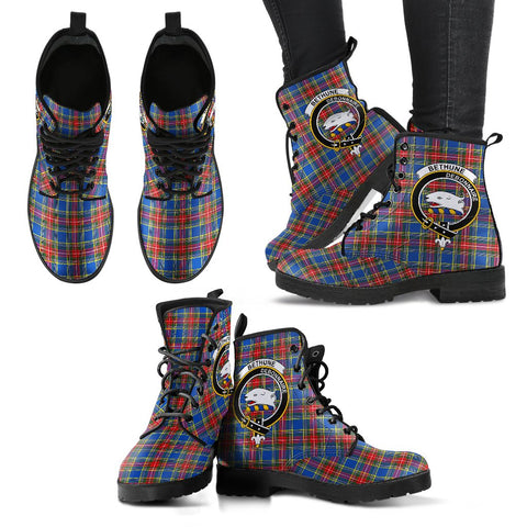 Bethune Tartan Clan Badge Leather Boots A9