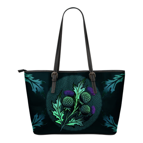 Beautiful Thistle and Celtic - Scotland Small Leather Tote Bag | Love Scotland