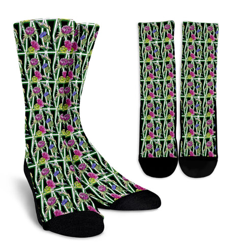Scottish Thistle Pattern 11 Crew Socks | HOT Sale