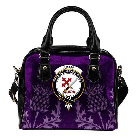 Adam Crest Shoulder Handbag - Scottish Thistle Purple