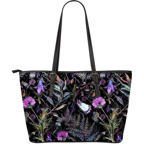 Dark Thistle - Leather Tote Bag | Special Custom Design