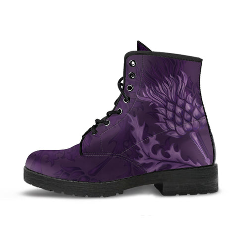 Abernethy Crest Scottish Thistle Scotland Leather Boots Purple | Over 300 Clans