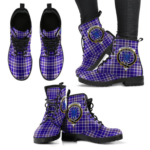 Ochterlony Tartan Clan Badge Leather Boots A9