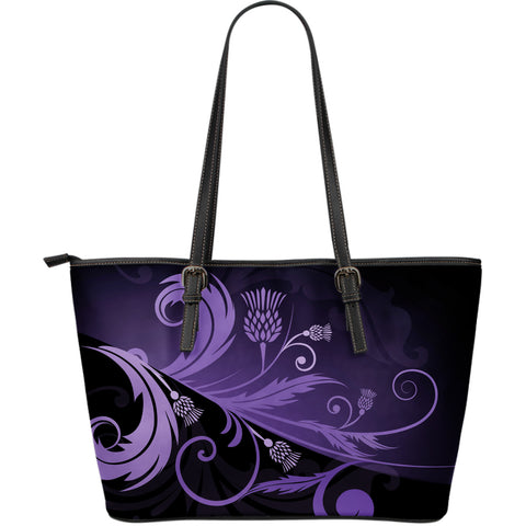 Purple Thistle Light Large Leather Tote Bag |Hot Sale| 1stscotland