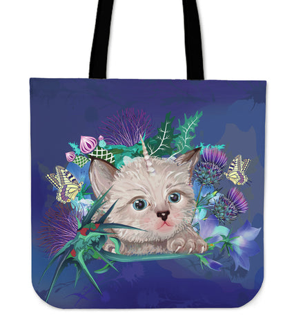 Scotland Tote Bag - Scottish Fold Unicorn Horn And Bluebell Thistle