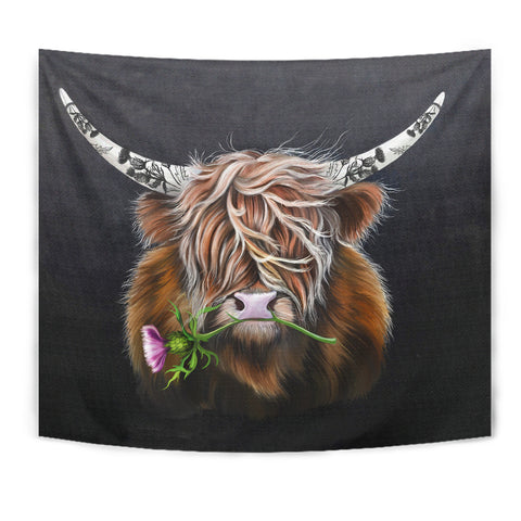 Scotland Tapestry - Thistle Highland Cow | Love Scotland