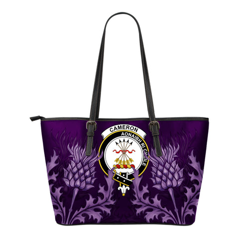 Cameron Leather Tote Bag - Scottish Thistle (Small Size) | Over 300 Clans