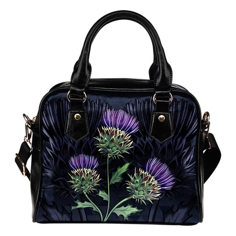 Luxury Purple Thistle - Scotland Shoulder Handbag | Love Scotland